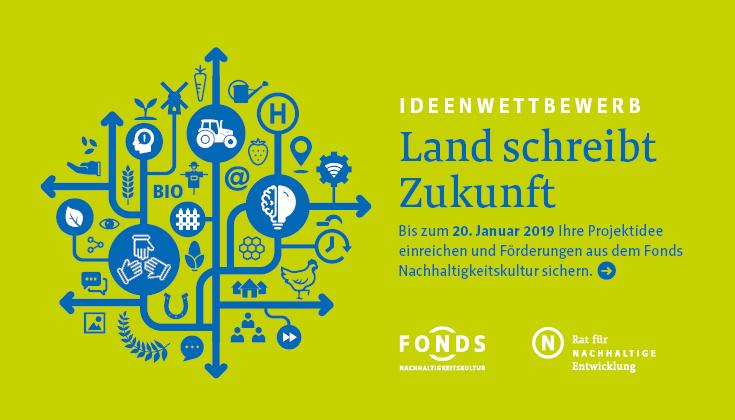 """Keyvisual zum Wettbewerb """"Land schreibt Zukunft"""" des Fonds Nachhaltigkeitskultur"""