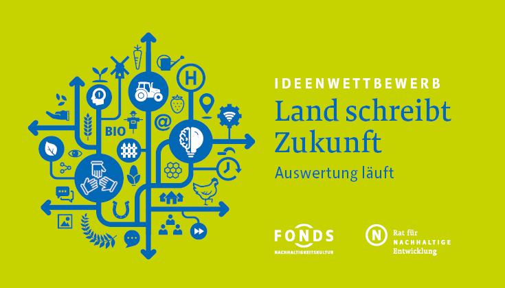Keyvisual des Ideenwettbewerbs Land schreibt Zukunft: Auswertung läuft