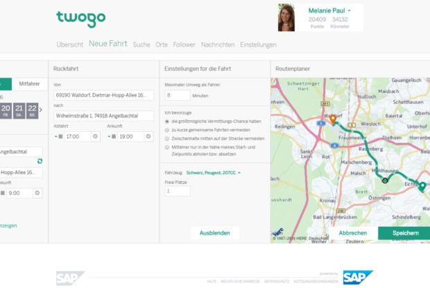 Bild 3 von 5: TwoGo Benutzeroberfläche Homepage
