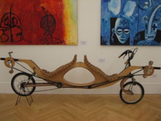 Bild 1: Schichtholztandem 'Wolkenreise', Sitze aus Korken